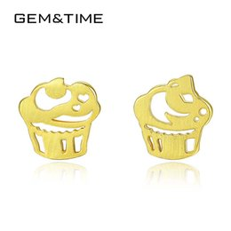 cute cakes for birthday 2019 - Gem&Time Cute Sterling 925 Silver Cartoon Cake Stud Earrings For Women Brushed Solid Earring Fine Jewelry Birthday Gift