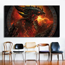 Painting Faces Australia - Dragon Fire Face World Of Warcrafts Wallpaper Art Canvas Poster Painting Wall Picture Print Home Bedroom Decoration