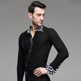 $enCountryForm.capitalKeyWord Australia - New Mens Dance Shirt Print Collar Standard Competition Performance Ballroom Modern Salsa Tango Samba Male Latin Tops Dancewear