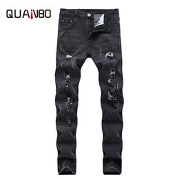 Men Street Clothes Australia - Men Black Jeans 2019 Men Clothes New Arrival Slim Fit Stretch Ripped Jeans Fashion Street Mens distressed Denim Trousers