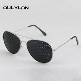 pinhole sunglasses 2019 - Oulylan Women Men Sunglasses Metal Pinhole Glasses Relieve Eye Fatigue Small Hole Sunglass discount pinhole sunglasses