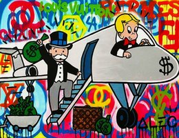 $enCountryForm.capitalKeyWord Australia - Alec Monopoly Home Wall Art Decor color Airplane Handpainted &HD Print Oil Painting On Canvas Wall Art Canvas Pictures 190823
