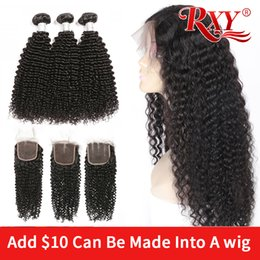 make lace closure Australia - afro kinky curly human hair bundles with closure can be made into 250% density wigs 4x4 lace closure wig curly bundles with closure