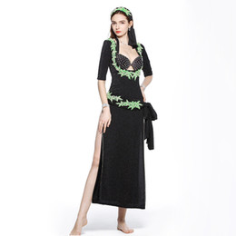 Women Costumes UK - 2019 Professional Women Belly Dance Clothes Floral Beaded Costume Embroidery Egyptian Beledi Saiidi Dresses 5pcs Set