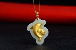 $enCountryForm.capitalKeyWord Australia - 24K Pure Gold Inlaid Natural Hetian White Jade Dolphin Pendant Silver 925 Chain Jewelry Necklace Gift
