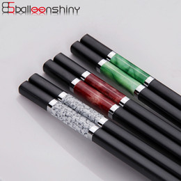 korean dinnerware UK - BalleenShiny Jade Chopsticks Korean Style Chop Sticks Hashi Korean Chopsticks Reusable Chinese Set Dinnerware Cutlery