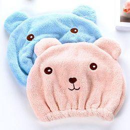 $enCountryForm.capitalKeyWord NZ - Wholesale Quickly Dry Hair Cap Bath Accessories Cute Bear Shower Cap for Hair Wrapped Towel Microfiber Shower Hats Bath Caps Superfine DH605