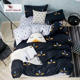 $enCountryForm.capitalKeyWord Australia - SlowDream Cartoon Style Bedding Set White Flat Sheet Double Bedspread 3 4PCS Duvet Cover Set Decor Bedclothes Euro Bed Linen