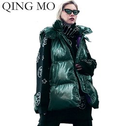 Green mo online shopping - QING MO Winter Hooded Women Coat Female Solid Sleeveless Parka Women Plus Size Warm Cotton Padded Coat Black Green ZQY2025