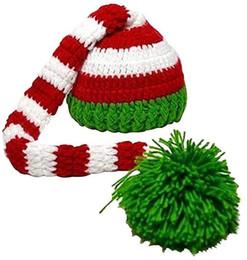 CroChet elf hats online shopping - Christmas Elf Long Tail Crochet Beanie Knit Hat Stocking Pom pom Caps Santa Hat for Baby girls Boys