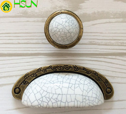 "Bronze Handle Pulls Australia - 3.75"" Dresser Pull Drawer Knob Pulls Handles Metal Ceramic White Crackle Antique Bronze Kitchen Cabinet Pulls Handle Knob 96mm"
