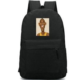 plain bean bags UK - Kobe Bryant backpack Black Mamba school bag Bean fans print daypack Basketball game schoolbag Outdoor rucksack Sport day pack