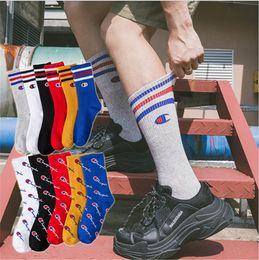 Boys tuBes online shopping - Champion Mens Designer Socks Cotton Middle Socks Sport Basketball Skateboard Long Sock Juniors Boy Hip hop Stockings High Tube Hosiery B9501
