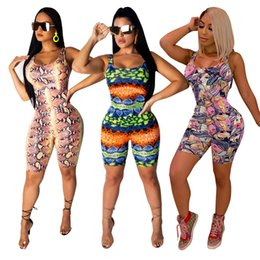 Clubs Figures Australia - Women Bandage Print Jumpsuits Rompers Multi Sleeveless Zipper Slim Club Party Short Bodycon Bodysuit Snake Skin Stripe Figure Face