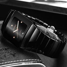 OUPAI Classic Black Tonneau Ceramic Watch New Fashion Squre Quartz Watch Men Waterproof with Calendar Luminous Black Sport Watch T200409 on Sale