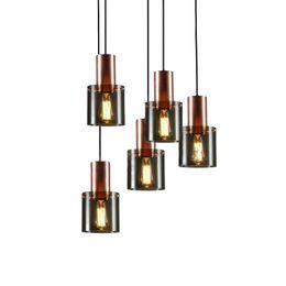 $enCountryForm.capitalKeyWord Australia - Nordic glass pendant light modern simple smoke gray cylinder glass lampshade rose gold metal lamp body pendant lamp