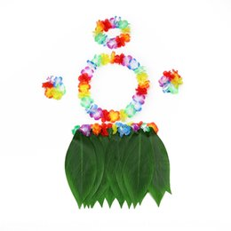 colorful grasses NZ - Hawaii leaf grass skirt props flowers colorful flowers set classic colorful garland five-piece set children's stage performance props