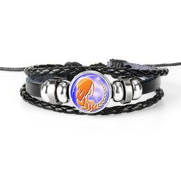 braided rope bracelets men NZ - Fashion Braided Leather Rope Beaded Bracelet 12 Constellations Zodiac Virgo Time Gem Glass Cabochon Bangles Punk Women Men Wristband Jewelry