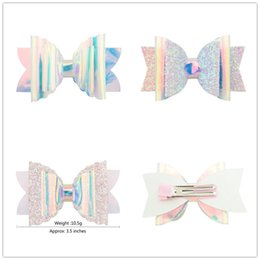 Baby Sequin Hair Clips Wholesale Australia - Baby Girls INS Sequin Glitter Laser Bowknot Hairpins Double Clips Bows Hair Clip Kids Bling Barrettes Headwear Hair Accessories Cute A51703