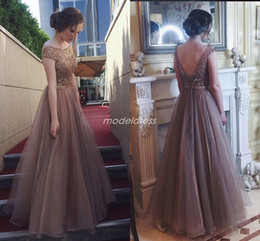 Cristal Brown Robes de bal 2019 Backless Jewel Longueur Perles sol longues soirée formelles Robes Special Occasion Dress Plus Size