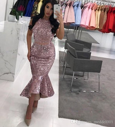 low back mermaid evening dresses Australia - Sequined Two Pieces Dresses Evening Wear Jewel High Low Skirt Mermaid Prom Dress Cheap Zipper Back Cocktail Gowns Formal Wear