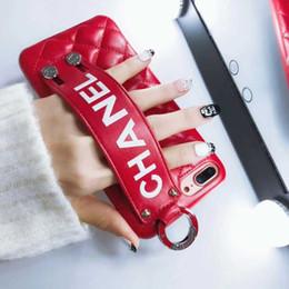 $enCountryForm.capitalKeyWord NZ - wholesale Luxury brands Phone Case for IPhone 6 7 8 Plus XS MAX XR Fashion Paris Show Classic Rhombus Lattice Wristband PU Leather