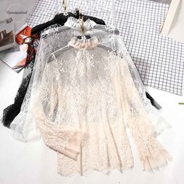 ruffle back blouse NZ - See Through Blouse Lace Women Flower Summer Ruffled Neck Butterfly Sleeve Sexy Ladies Tops Back Night Club Tops 0.07