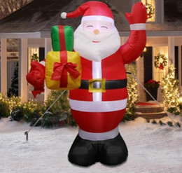 Discount outdoor santa claus decorations - Inflatable Santa Claus Outdoors Christmas Decorations for Home Yard Garden Decoration Merry Christmas Welcome Arches New