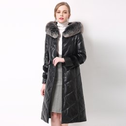 2018 New genuine leather coat,Plus size sheep leather down jacket women's fur jacket fur overcoat  collar down coat 661