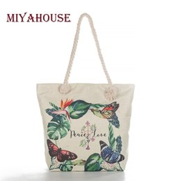 Wholesale Miyahouse Casual Floral Print Shoulder Bag For Young Women Canvas Butterfly Handbags Lady Cotton Rope Shopping Bag High Quality