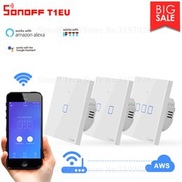 433mhz rf remote switch Australia - Cheap Home Automation Modules Itead Sonoff T1 EU 86 1 2 3 gang TX 433Mhz RF Remote Controlled Wifi Wall Switch Smart Home Switch