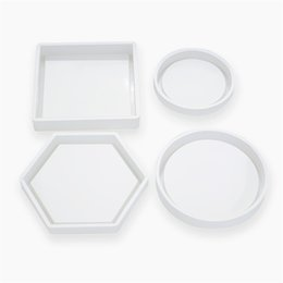 Großhandel Kreative DIY Coaster Mold-Silikon-Casting Kristall-Form transparent glänzend Blumentopf Bodenform 4 Styles 3 7ms E19