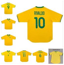 KaKa jerseys online shopping - 2000 Brazil Soccer Jersey Retro football Shirt Vintage Classic antique Collection uniform home yellow RONALDO RONALDINHO KAKA RIVALDO