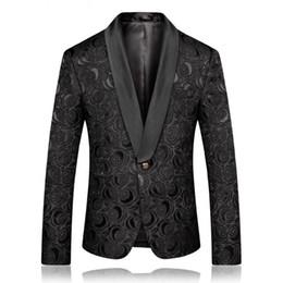Male Fashion Suits Australia - Slim Fit Black Blazer Men Fashion Mens Floral Blazer and Suit Jacket Male Prom Dresses Blazer Mens Casual Stage Wear DT471 dsy075