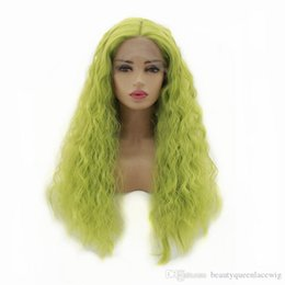yellow curly hair UK - Fashion Yellow Green Long Curly Lace Front Wig For Cosplay Make Up Soft Fiber Hair Natural Looking Synthetic Wigs For Women