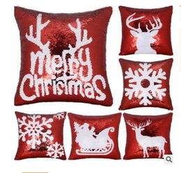$enCountryForm.capitalKeyWord Australia - Merry Cushions Cover Christmas Pillow Case Sequin Sofa Decorative Pillow Cover Home Decor Cushion Chair Pillowcase Gifts Free Shipping