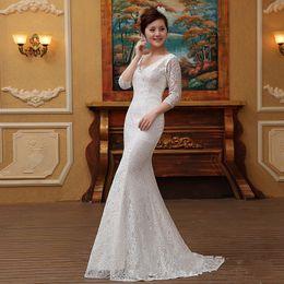 Amelia Sposa Cap Sleeve Australia - Vintage Lace Wedding Dresses Lace Up Back V Neck Half Sleeve A Line Bridal Gowns Amelia Sposa Court Train