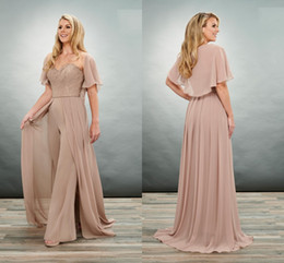 Wholesale breast pictures sizes online – design 2020 Unique Brown Mother of the Bride Groom Jumpsuits Pants Suits Sweetheart Lace Shawl Chiffon Plus size Cheap Evening Formal Dress
