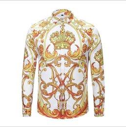 $enCountryForm.capitalKeyWord Australia - Men's casual shirts Autumn winter Harajuku Medusa gold chain Dog Rose print shirts Fashion Retro floral sweater Men long sleeve tops shirts