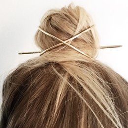 Gold caGe charm online shopping - New Boho Hair Accessories Arrival Metal Gold Filled X Shaped Bun Holder Charming Vintage Bun Cage Hair Stick Personalized