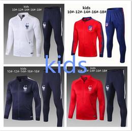 Venta al por mayor de 2018 2019 Francia niños fútbol Chándal POGBA MATUIDI niño Chándales chaqueta 18 19 niños atletico chaqueta de fútbol trajes de entrenamiento