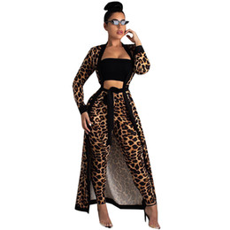 Sexy Leopard Print Long Sleeves Cardigan Night Club Party Maxi Long Women's Two Piece Pants with Sashes