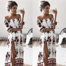 $enCountryForm.capitalKeyWord Australia - Women Ladies Clothing Dress Chiffon Floral Long Sleeve Party Flower Casual Long Maxi Dresses Women Summer Sundress designer clothes