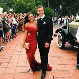$enCountryForm.capitalKeyWord Australia - Simple Sexy Red Off Shoulders Satin Cheap Prom Dresses Custom Made Split Evening Dress Party Gowns Graduation Dresses stock Abendkleid