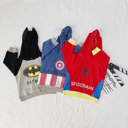 Wholesale Super Hero Captain America Costume SpiderMan Batman Avengers Costumes Cosplay boy Sweater Cartoon Mask Hooded Boys Top