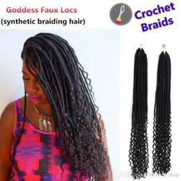 "crochet pack NZ - Synthetic ombre Braiding 20"" 24strands pack Ombre Color Kanekalon Synthetic Hair Goddess Faux Locs Curly Crochet Hair Braids for black women"