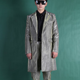 shining jackets 2019 - Custom Made Men Suits Sets (jacket+pant) Male Long Shining Casual Fashion Slim Fit Blazers Jacket Singer Dancer Stage Cl