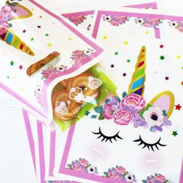 $enCountryForm.capitalKeyWord Australia - 20pcs Unicorn Plastic Bag Rainbow Stars Pink Gift Loot Bags Cookies Candy Packing Bag Unicorn Party Decoration Gift Plastic Bags