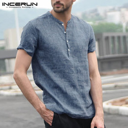 Man S Clothes Australia - Brand Summer Pure Casual Shirts Men Tee Tops Stand Collar Masculina Camisa Slim Fit Man Clothes Plus Size 5XL Shirts White Blue