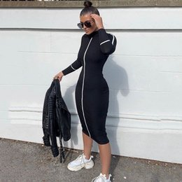 Wholesale womens long dresses resale online – Women Designer Bodycon Dresses Stand Collar Long Sleeve Mid Calf Apparel Womens Summer Autumn Casual Clothing